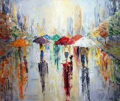 Walking in the city park rain