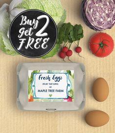 40 Printed Labels Egg Carton Labels Fresh Eggs Backyard Chickens in Watercolor Vegetables Egg Carton Stickers Egg Label 6 Eggs Box by CreativeFarmerMarket