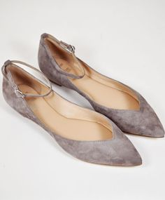 Sigerson Morrison Taupe Suede Sable Flat