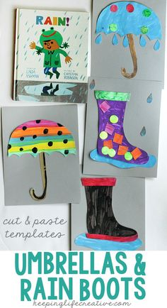 Even a rain-lover can get stir crazy during the rainy season! Get creative inside by snuggling up with a good book and rainy day umbrella and rain boot craft. Free printable templates included.