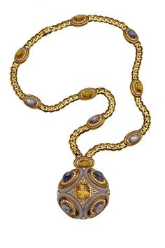 The Art of Bulgari: Dolce Vita & Beyond Gold sautoir with yellow and blue sapphires, agate, citrine, and diamonds. (1972)