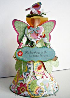8 tall Chantilly Paper Angel with Sentiment by stuffandthingsandco