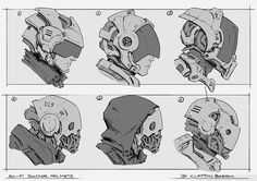 Concept art gallery showcasing a series of character and environment designs for video games created by Clayton Barton. Arte Ninja, Arte Robot, Robot Concept Art, Armor Concept, Robot Design, Helmet Design, Character Concept, Character Art, Simple Character