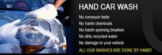 A car being washed by hand with no conveyors, harsh chemicals, brushes or dirty water.