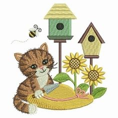 Gardening Kitty 9 - 4x4   Tags   Machine Embroidery Designs   SWAKembroidery.com Ace Points Embroidery