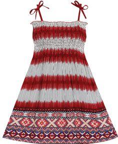 Flower Girl Dress Sleeveless Smocked Halter Striped Deep Red Size 2-3 #SunnyFashion #Everyday