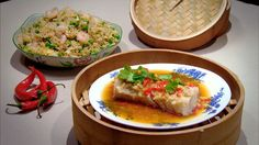 Ginger, chilli and soy-steamed cod, with shrimp fried rice | Chinese Food In Minutes