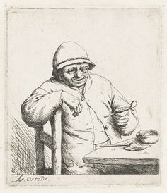 Adriaen van Ostade | Rokende boer met de arm over een stoelleuning, Adriaen van Ostade, 1650 - 1654 |