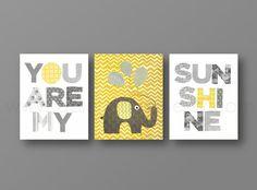 Grey yellow chevron Nursery art, baby nursery decor, nursery wall art, Kids art, elephant, words, Set of 3, 8x10 Prints You Are My Sunshine via Etsy