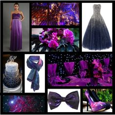 Galaxy Themed Wedding Inspiration by bellememorie on Polyvore featuring art, purple and blue wedding, purple wedding, wedding, galaxy wedding, midnight blue wedding and galaxy