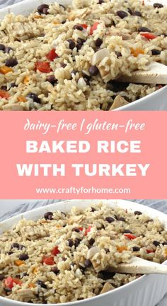Baked Rice With Leftover Turkey This leftover turkey recipe is easy to make, baked it together with brown rice and all simple ingredients from the pantry, perfect for a healthy, dairy-free and gluten-free meal for the whole family. Leftover Turkey Casserole, Leftover Turkey Recipes, Leftovers Recipes, Turkey Leftovers, Leftover Rice, Dinner Recipes, Healthy Turkey Recipes, Acerola, Baked Rice