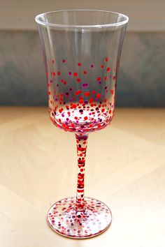 Polka-Dotted Wine Goblets, handpainted, set of 4 ($40.00)  by JTurcotteDesigns