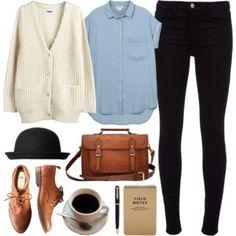 Cream cardigan, light blue shirt, black skinny jeans, brown shoes & handbag