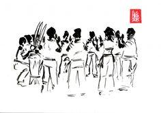 Encres : Capoeira – 466 « Energie » [ #capoeira #watercolor #illustration] Encre sur papier 190gr / Ink on paper 190gr 21 x 29.7 cm / 8.3 x 11.7 in