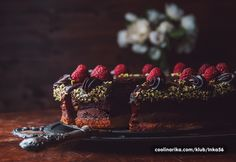 Chocolate cake with raspberries and marzipan by Johann Lafer