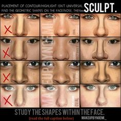Master the Perfect Make-up How to Contour Your Body with Self-Tanner How to Contour for Different Face Shapes Contour, Blush, and Highlighter for Different Face Shapes Nose Makeup, Contour Makeup, Skin Makeup, How To Contour Nose, Corrective Makeup, Beauty Make-up, Beauty Secrets, Beauty Hacks, Natural Beauty