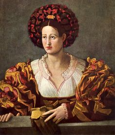 Now that is a dress to use up all those spare bits of fabric! Portrait of a Lady by Bernardino Licinio 1489-1565.