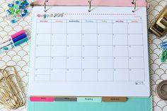 Printable Student Binder | JustAGirlAndHerBlog.com & monthly calendars