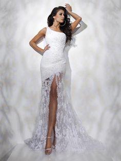 Sheath/Column One Shoulder Sleeveless Floor-length Chiffon Prom Dress #FC456