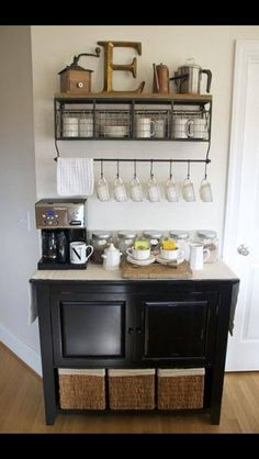 could i take this coffee bar idea and make a baking station? bread maker, mixer, flours and sugars, cute measuring cups, bread pans, and pie plates?