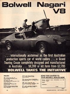 The 1971 Bolwell Nagari Kit Car with Ford 301 or 351 - Australia Kit Cars, Car Advertising, Ads, Aussie Muscle Cars, Australian Cars, Old Race Cars, Car Ford, Ford Motor Company, Family History