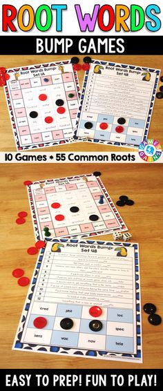 Root Words Bump Games contains 10 different games to help students practice defining 55 common Greek and Latin roots. These Root Words Bump Games are divided into 5 sets (with 2 different bump games per set) so that students can practice with just a chunk of roots at a time!