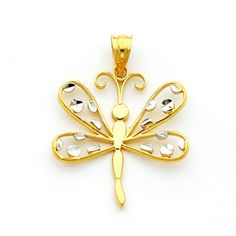 14kt solid gold Two-tone Dragonfly Pendant with diamond cut accent polka dots. Measures 1 1/8 x 7/8. Beautiful matching hook earrings also