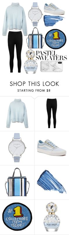 """""""sleepin @ school"""" by jeonayla on Polyvore featuring Frame, Boohoo, Olivia Burton, Vans, Balenciaga, Sisley, Olympia Le-Tan, Marc Jacobs, Recover and pastelsweaters"""
