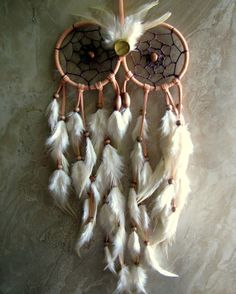 Owl Dream Catcher  Peach and Ivory Feather by peacefrogdesigns, $75.00