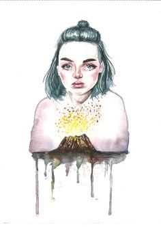 Bajo el volcán / Love of lesbian #love #of #lesbian #illustration #ilustracion #art #watercolor #martaaraujo