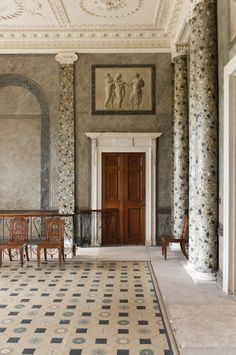 The Entrance Hall at Attingham Park, Shropshire. The room was designed by George Steuart for Lord Berwick in the late eighteenth century.