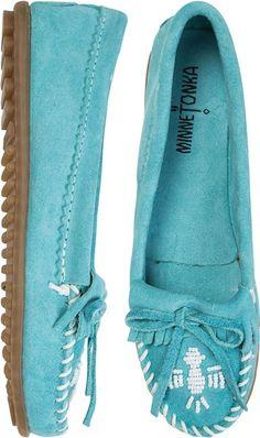 Blue suede mocasin slip ons! MINNETONKA THUNDERBIRD II MOCCASIN http://www.swell.com/Womens-View-All-Footwear/MINNETONKA-THUNDERBIRD-II-MOCCASIN-3?cs=AQ#