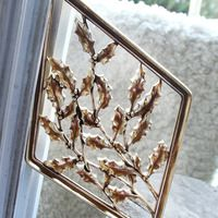 Vintage Syroco Wood Floral Mid Century Gold Tone Wall Plaque from Shop K+M