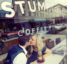 """2013 Annual Top Knots Winners' Gallery for PDN (Photo District News Contest) """"The Wedding Issue"""" - Engagement category – """"Love Brewing"""" An intimate, Lifestyle engagement image shot through a window in Portland, Oregon. The coffee culture in Portland is as strong as Jeff and Kara's love. Photo by: JOS photographers"""