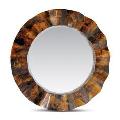 Blake Round Young Penshell Mirror with Scalloped Wave Detail Also Available: Kabibe Shell (White) FNM-1307-KS0032YP $1665 Silver Mother of Pearl (Grey) FNM-1307-SIL0032YP $2800