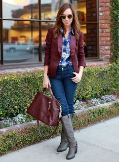 Fall Look: Plaid button down, burgundy blazer & skinny jeans Winter Outfits Women, Casual Winter Outfits, Fall Outfits, Street Style 2014, Burgundy Blazer, Denim Fashion, Womens Fashion, Street Fashion, Party Mode