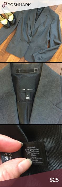 "NWOT Fitted Suit Jacket from The Limited Jacket is NWOT, never worn.  Still has tails sewn shut in tbt back .  Fitted look, two button , faux front pockets .  A dark grey color .  All measurements taken flat .  Size 4 measures shoulder to hem, 24"", sleeve 24"", armpit to armpit 16.5"", waist 14.5"".  Bundle 2+ and Save 20% The Limited Jackets & Coats Blazers"