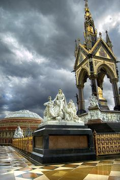 The Royal Albert Hall - the memorial keeps the foreground interesting & the electrical Summer storm provided an ominous sky. Royal Albert, Prince Albert, London City, London Skyline, London Architecture, Gothic Architecture, Ancient Architecture, The Places Youll Go, Places To Visit
