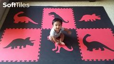 SoftTiles Dinosaur Kids Foam Mats for Playrooms. Create a play mat for a space of any size! #playroom