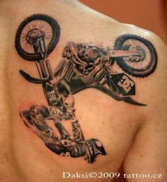Freestyle motocross black and gray tattoo