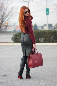 Amateur redhead modeling sweater, black leather pencil skirt and black boots