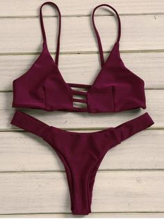 Sexy Strappy Solid Color Bikini Set For Women Bikinis | RoseGal.com Mobile