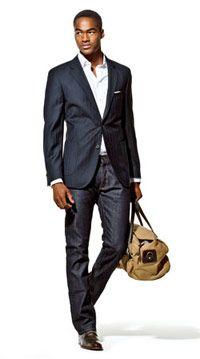 (Tommy Hilfiger blazer, $325, tommy.com; Hamilton Shirts shirt, $345, hamiltonshirts.com; Gap jeans, $90, 800-427-7895; Thomas Pink hankerchief, $10, thomaspink.com; Filson duffel, $225, 866-860-8906; Cole Haan shoes, $200, colehaan.com)