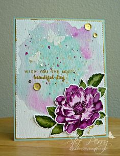 Beautiful Day by - Cards and Paper Crafts at Splitcoaststampers Watercolor Effects, Watercolor Cards, Flower Stamp, Flower Cards, Card Making Inspiration, Making Ideas, Altenew Beautiful Day Cards, Altenew Cards, Pretty Cards