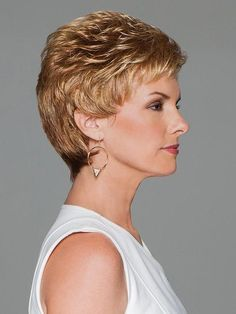 Find the Aspire Wig by Eva Gabor Wigs. All over short layers blend into an expertly tapered, neck-hugging nape. Golden Blonde Highlights, Brown Highlights, Neutral Blonde, Dark Blonde, Pear Shaped Face, Gabor Wigs, Face Shape Hairstyles, Loose Curls, Synthetic Wigs