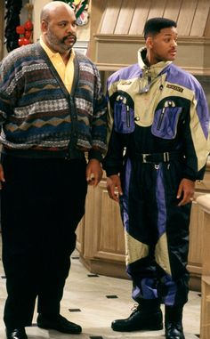 James Avery as Phillip Banks and Will Smith in The Fresh Prince of Bel-Air Fresh Prince, Hip Hop Fashion, 80s Fashion, Lolita Fashion, Fashion Boots, Style Fashion, Fashion Dresses, Mode Masculine, Willian Smith
