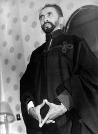 Haile Selassie. Emperor of Ethiopia (1930 to 1974) showing the yoni sign.