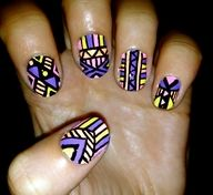 Pastel tribal/aztec nails painted over gel polish. How To Do Nails, Fun Nails, Pretty Nails, Aztec Nail Designs, Nail Art Designs, Nailart, Garra, Tribal Nails, Tribal Art