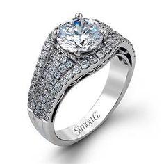 Shop online SIMON G TR336 Halo 18K - White Gold Diamond Engagement Ring at Arthur's Jewelers. Free Shipping