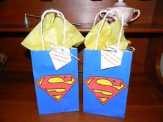Birthday Superman Party Favor Bags by creationsabc on Etsy Superman Party Favors, Superman Birthday Party, 6th Birthday Parties, Boy First Birthday, Superman Baby Shower, Superhero Baby Shower, Superhero Party, Wonder Woman Party, Birthday Gift Bags